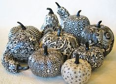 Pumpkin Ornament, Squash Ornament, Halloween Ornament, decoupage ornament, black and white pumpkin, paisley fall autumn thanksgiving. via Etsy.