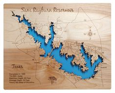 This is a beautifully detailed, laser engraved and precision cut topographical Map of Sam Rayburn Reservoir in Texas. Big Sam, Best Places To Vacation, White City, Topographic Map, Laser Cutting, Laser Engraving, Acre, Texas, Boating