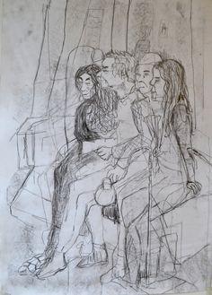 "Linn Sundqvist ""Waiting Together"" Pencil on paper"