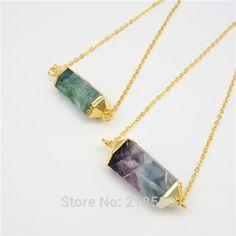 Cheap N15070702 chapado en oro de doble punto de fluorita Doule terminado Crystal collar de 18 pulgadas cadena, Compro Calidad Collares directamente de los surtidores de China:                Especificación                     Material: cristal
