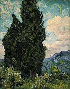 This is my favorite painting ever.  Bow down to its glory.    Vincent van Gogh: Cypresses (49.30) | Heilbrunn Timeline of Art History | The Metropolitan Museum of Art