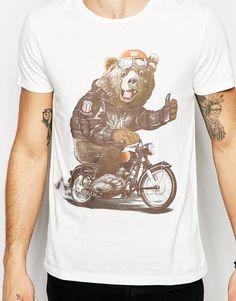 Imagen 3 de Camiseta ajustada con estampado de oso motorista de Wrangler