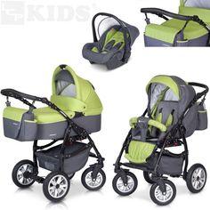 PREMIUM 3 en 1 Carrito PASSO convertible con capazo, saco para las piernas, bolsa para pañales, capota y silla de coche (grupo 0+) / 6 diseños de color disponibles, Color:F4 - verde