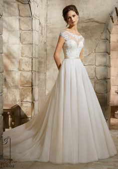 View Dress - Mori Lee Blue FALL 2015 Collection: 5362 - EMBROIDERED APPLIQUES WITH CRYSTAL BEADING ACCENT THE SOFT TULLE GOWN WITH SATIN WAISTBAND | MoriLee Bridal