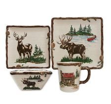 Rustic Dinnerware Set Square Lodge Cabin Kitchen Dining Moose Deer North Woods