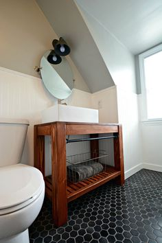 Rustic Farmhouse Bathroom Vanity with iron towel by FatherofWood