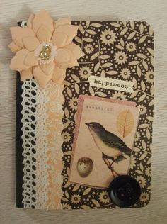 Vintage Inspired Bird Happiness Mini Altered Composition Book on Etsy, $5.99