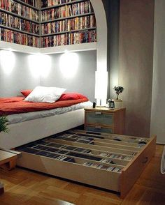 Reading nook with day bed and pull-out shelving.