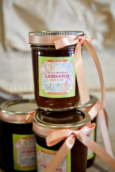 Summer country wedding guest favor idea - jam in glass jars with custom labels + tied with peach ribbon {J. Messer Photography}