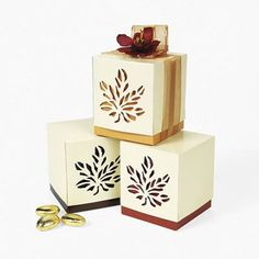 """Fall Wedding Favor Boxes are made out of cardboard. Boxes measure 3 1/2"""". Simple assembly required. 1 Dozen per package."""