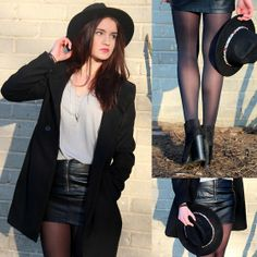 Zara Hat, Zara Long Black Coat, Mohito Black Lether Skirt, Zara High Heeled Boots, Cropp Silver Long Necklace