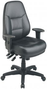 Leather Office Chairs: Executive High Back Black Leather Office Chair with Multi Function Control - EC4350-EC3 @$231.99