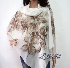 Nuno Felted Silk Scarf Shawl Wrap WHITE BEIGE от LidikoFelt