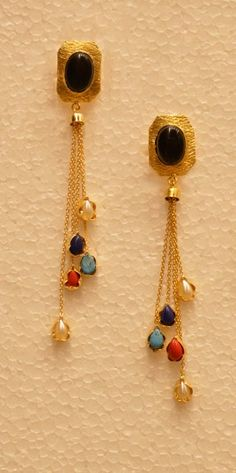Buy This Party Wear Colorful Drop Chain Golden Earring With Funky Look Online Shopping Gold Jewelry, Beaded Jewelry, Jewelery, India Jewelry, Temple Jewellery, Gold Bangles, Golden Earrings, Drop Earrings, Gold Earrings Designs