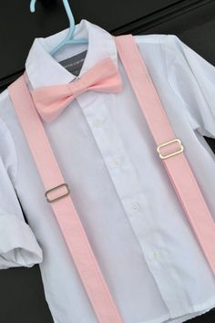Light Peony Pink Bowtie & Suspenders for little boy / child / toddler / baby - perfect for Easter, weddings, and family photos!  Handmade in Texas by Dressed to Thrill - http://www.idresstothrill.etsy.com
