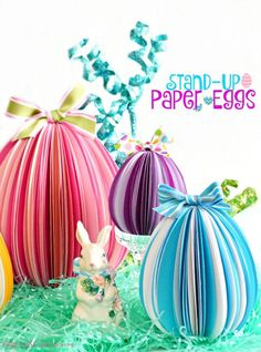 Cut egg shapes, fold, glue & make unique, dimensional Stand-Up Paper Eggs for Easter! Great family project! at littlemisscelebration.com: