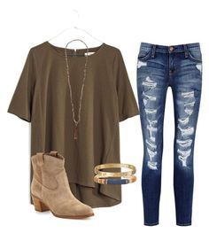 """""""I found someone- Blake Shelton"""" by daniellekenz ❤ liked on Polyvore featuring Madewell, Current/Elliott, Gianvito Rossi, Chan Luu, Gas Bijoux and Cartier"""