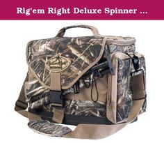 Rig'em Right Deluxe Spinner Hunting Bag - Max 5 Camo 085. Features internal pockets for spare batteries, padded slots to store and protect wings, convenient slots to accommodate extension poles and extra external pockets for spare thumb-screws and miscellaneous gear. Built of the toughest material, this floating bag also boasts a heavy-duty EVA bottom and metal hardware for years of use. Hold up to 2 spinning wing decoys and poles. MPN:RR085.