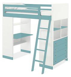 Moda Loft Bed with Desk & Dresser #roomandboard #yolocolorhouse #annies