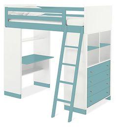 Moda Loft Bed with Desk & Dresser #roomandboard #yolocolorhouse #annies