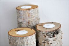 Birch Log Candle Holders #craft #decoration #holiday #candle