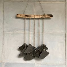 Ceramic artisan wallhanging with weathered wooden stick and black fans Om, Fans, Ceramics, Etsy, Artwork, Vintage, Accessories, Ceramica, Pottery