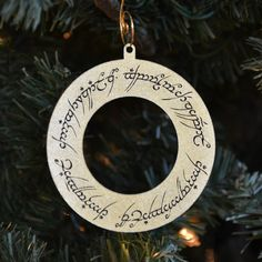 Circular Elven Script Christmas Ornament Set of by DreamfulDesigns, LOTR the one ring