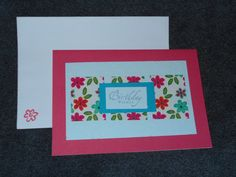Hand stamped Pink and Blue Floral Happy birthday card, embossed with flowers with a bright floral print