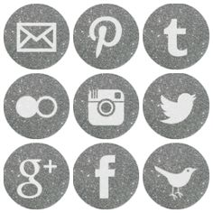 Free silver sparkling social media icons. they don't really match our blog theme, but we could try? @Niki Morgan