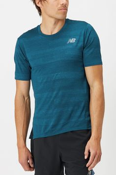 Don't compromise style when looking for a performance running tee! The New Balance Q Speed Fuel Jacquard SS is a lightweight and extremely breathable tee with a sleek look to match its performance. - Shop with Free Shipping and Free Returns at Running Warehouse! - #training #workout #health #fitness #footwear #shoes #jog #walk #nike #newbalance #hoka #altra #brooks #adidas #marathon #athletic #exercise #style #fashion #outfit #clothes #gym #sneakers Running Gear, Running Shirts, Footwear Shoes, New Balance Men, Mens Fall, Jacquard Fabric, Sleek Look, Style Fashion, Health Fitness