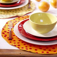 Polka-Dot Place Mat - Take plain place mats and add some fun. Using fabric paint, dip a pencil eraser in paint and make polka dots all over the place mat in an even pattern. Let dry.