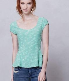 "Anthropologie Sz S Postmark Peplum Mint Green ""Endash Boucle Tank"" Top, Pristine #Anthropologie #Blouse #Fashion"