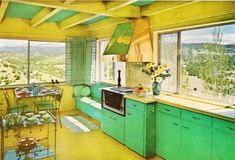 1970s lemon and lime kitchen