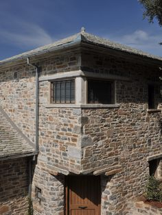 Windows _ stone | detail | holiday house | sea | Pelion | Sporades | design | local architecture | Pagasitikos Bay _ visit us at: www.philippitzis.gr Skiathos, Interior Exterior, Garage Doors, Cabin, Windows, Sea, Stone, Architecture, Detail