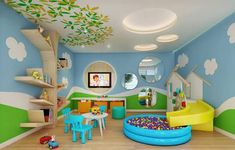 20 Fantastic Kids Playroom Design Ideas – My Life Spot Daycare Design, Playroom Design, Kids Room Design, Wall Design, Baby Playroom, Baby Room, Playroom Ideas, Children Playroom, Decoration Creche