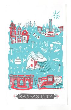 "The red and turquoise Kansas City tea towel features 5 of the most beautiful KC landmarks: Country Club Plaza, Kauffman Performing Arts Center, Liberty Memorial, Union Station, and the Nelson-Atkins Museum of Art. Also be sure to check out the other KC items including prints, blank cards, and pillows.  • 17"" x 28"" • 100% cotton twill • printed in USA • machine wash in cold water, air dry   This tea towel is reproduced from my original illustration.©tammysmithdesign"