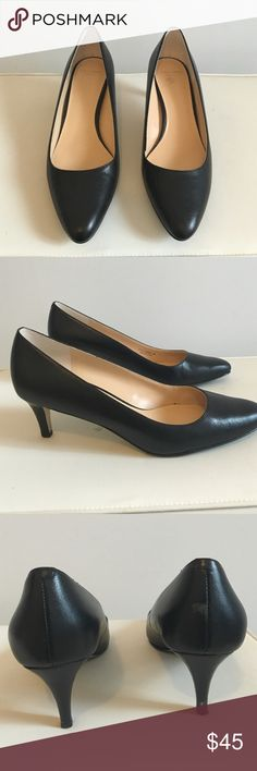 Black Cole Haan Lena Mid Pump Smooth black leather heels, mid heel. Lightly worn, great condition. Make an offer :) Cole Haan Shoes Heels