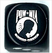 CatMonkeyGames@aol.com $4.00 POW MIA Dice, logo is engraved on side 6.  Custom engraved dice to show our thanks for those who have sacrificed so much.
