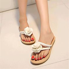 Women's Summer Slippers Canvas Tulle Casual Low Heel Flower Black Blue White