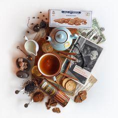 © Aidan Sartin Conte • Queen Anne Tea Black Tea • Earl Grey Black Tea • Organic Jasmine Pearl Green Tea • Belgian Almonds Thins Biscuiterie • Sweet oat Crisps • Chocolate Rolled Wafers • Whole Milk • Cinnamon Sticks • Cinnamon Powder • Caramelized Cane Sugar Cubes