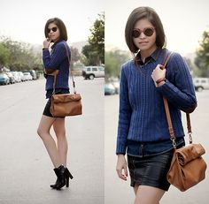 Get this look: http://lb.nu/look/5769773  More looks by Adriana Gastélum: http://lb.nu/bagt  Items in this look:  Windsor Sunnies, Daniel Wellington Watch, Coach Booties   #mexico #elbowpatch #sweater #knit #leather #fauxleather #miniskirt #booties #coach