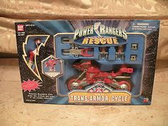 Power Rangers Lightspeed Rescue - Red Trans-Armor Cycle With Figure, Bandai MIB - http://hobbies-toys.goshoppins.com/action-figures/power-rangers-lightspeed-rescue-red-trans-armor-cycle-with-figure-bandai-mib/