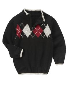 Handsome argyle sweater layer zips right on.292р