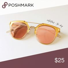 Rose Gold Reflective Sunglasses Brand new sunglasses • gold frame with pink reflective glass • chic and lightweight. instantdork Accessories Glasses