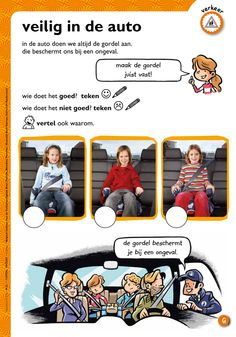 Veilig in de auto @keireeen Life Skills, Discovery, Transportation, Teacher, Baseball Cards, Comics, Learning, School, Projects