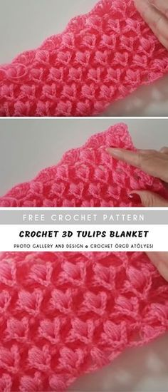 Crochet Tulips Blanket Spectacular with the unique shape of flower tulips motif. Works very fast and easy, this pattern is based on video tutorial with English subtitles and step by step you will finish this amazing baby Crochet Afghans, Motifs Afghans, Easy Crochet Blanket, Crochet For Beginners Blanket, Crochet Stitches Patterns, Crochet Designs, Crochet Baby, Knitting Patterns, Afghan Blanket