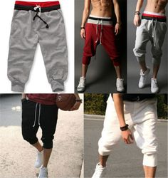 Hot Mens 3 4 Knee Casual Jogger Sport Shorts Baggy Gym Harem Pants Rope Trousers | eBay