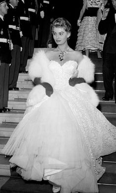 Sophia Loren at Cannes, 1955. Too funny, now at Cannes you see more jeans and Uggs vs. dresses.