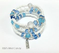 Clouds in the Sky Beaded Coil Bracelet by RandRsWristCandy on Etsy, $10.00