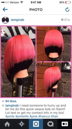 Pink and black quick weave cut into a bob. Hairstyle Done by GinaB Black Hairstyles With Weave, Quick Hairstyles, Weave Hairstyles, Love Hair, Great Hair, Violett Hair, Quick Weave Bob, Natural Hair Styles, Short Hair Styles